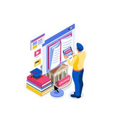 E-book concept university library vector