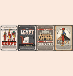 Egyptian gods travel and culture posters vector