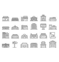 Exhibition center icon set outline style vector