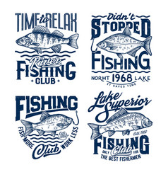 Fishing sport t-shirt print ocean fisher club tee vector