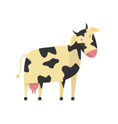 Flat cute cow animal icon vector
