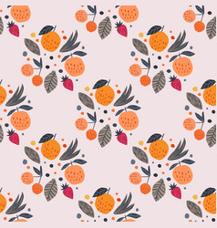 Fruits seamless pattern funny garden fruit vector