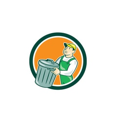 Garbage Collector Carrying Bin Circle Cartoon vector image