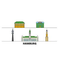 Germany hamburg flat landmarks vector