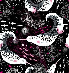 graphic pattern wonderful narwhals vector image