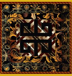 greek 3d floral panel pattern baroque vector image