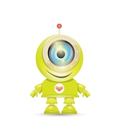 green cartoon robot isolated on white vector image