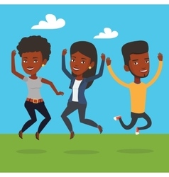 Group joyful young friends jumping vector