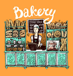 Hand drawn sketch interior of bakery shop vector