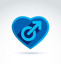 Heart with a blue male man gender symbol Lesbian vector