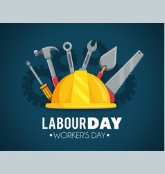 Helmet with construction tools to labour day vector