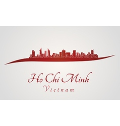 Ho Chi Minh skyline in red vector image