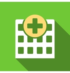Hospital Flat Long Shadow Square Icon vector