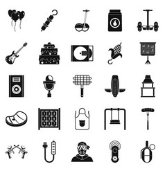 Humor icons set simple style vector