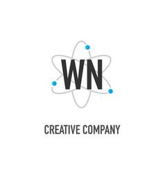 Initial letter wn atom neutron design logo vector