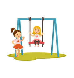 kids girls on swings cartoon characters vector image