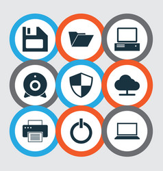 Laptop icons set collection of power on monitor vector