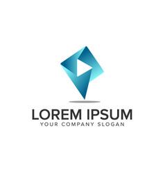 letter p multimedia logo design concept template vector image
