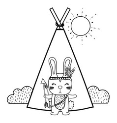 Line rabbit animal with arrows and camp design vector