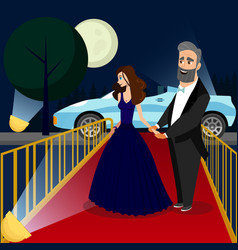 Man and woman at vip event color vector