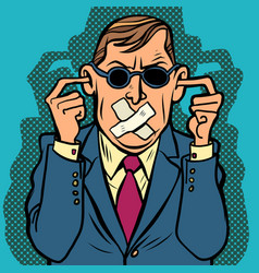 man blind dumb deaf censorship vector image