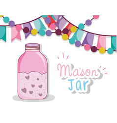 Mason jar party drawing vector