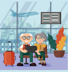mature couple waiting for their flight at the vector image