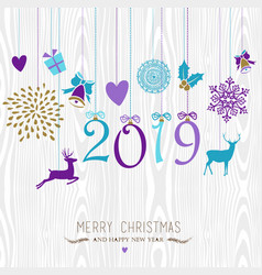Merry christmas and happy new year hang retro 2019 vector