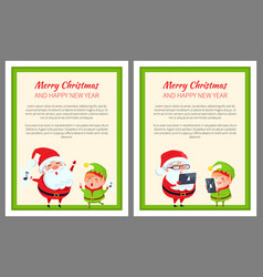merry christmas happy new year santa and cute elf vector image