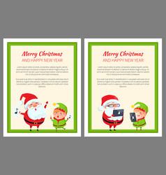 Merry christmas happy new year santa and cute elf vector