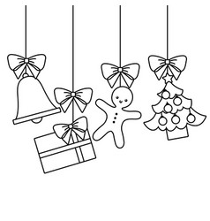 merry christmas tree gift gingerbread bell hanging vector image