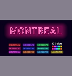 Neon name of montreal city vector