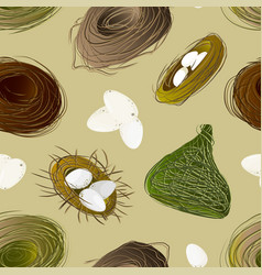 Nest set and hatching chicken pattern vector