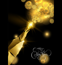 New year gold champagne 3d bottle greeting card vector