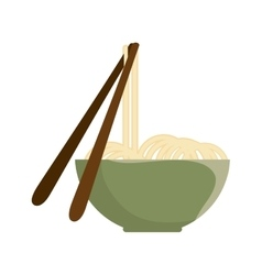 noodle bowl with chinese sticks vector image
