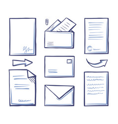 Office papers and documentation in envelope vector