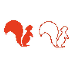 pixel art squirrel character isolated on white bac vector image