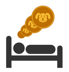 Puppycoins dream flat icon vector