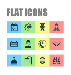 Religion icons set collection of prayers mosque vector