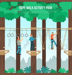 Rope walk park flat poster vector
