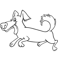 running little dog cartoon for coloring vector image