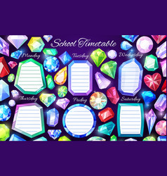 School timetable with gems and crystals vector