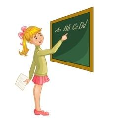 Schoolgirl at blackboard vector