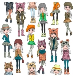Seamless pattern with cute hipster girl vector