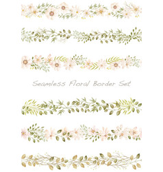seamless watercolor floral border set vector image