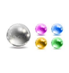 set disco balls disco background vector image