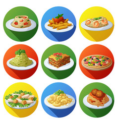 set food icons italian cuisine vector image