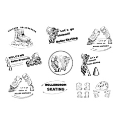 Set hand drawn labels logos for Roller Skates vector