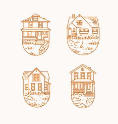 set house badges flat beige vector image