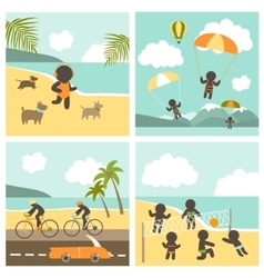 Set icon sport people on the sea vector